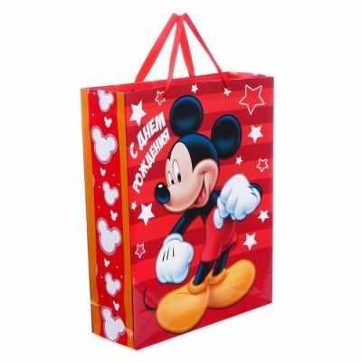 Подарочный конверт Disney 2019738 Пакет ламинированный вертикальный С Днем Рождения!, Микки Маус бумага упаковочная disney с днем рождения кошечка мари глянцевая 70 х 100 см 2586441