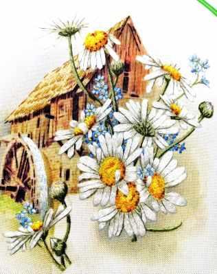 Набор для вышивания Гладкий мир Мельница в ромашках - набор