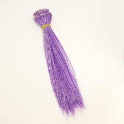 Заготовки и материалы для изготовления игрушки Pugovka Doll Волосы прямые фиолетово-белый, 15 см