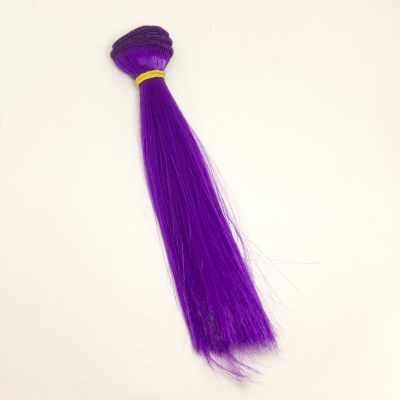 Заготовки и материалы для изготовления игрушки Pugovka Doll Волосы прямые фиолетовый, 15 см