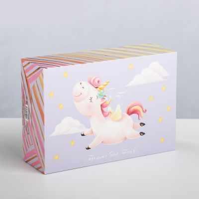 Подарочная коробка Дарите Счастье 3924793 Складная «Единорог»