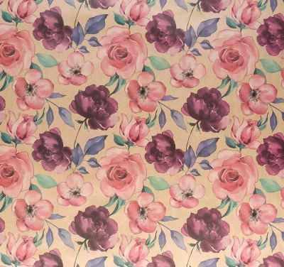 Бумага для упаковки подарков Дарите Счастье 4681761 Бумага упаковочная крафтовая «Цветочный сад»