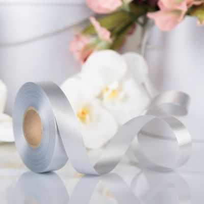Ленты для упаковки подарков - 3921021 Лента для декора и подарков серебряный, 2 см х 45 м