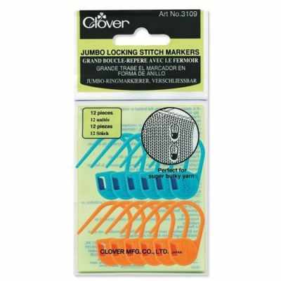 Инструмент для вязания Clover 3109 Маркеры петель замковые, крупные (12 шт.)