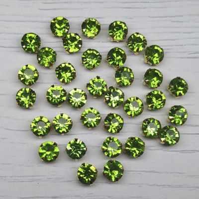 Каталог Хрустальные грани ЗЦ015НН66 Хрустальные стразы в металлических цапах (Золото) Зеленый
