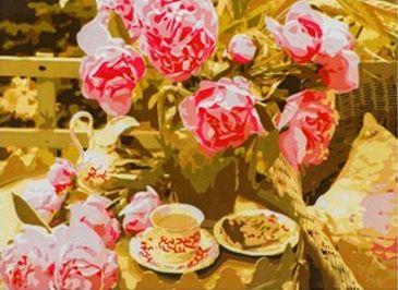 Фото - Набор для рисования по номерам Рыжий кот 5044798 Роспись по номерам на холсте 30 × 40 см, «Розовые цветы и кофе» коробка рыжий кот 33х20х13см 8 5л д хранения обуви пластик с крышкой