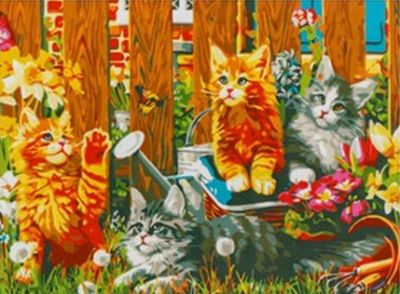 Набор для рисования по номерам Рыжий кот 5044752 Роспись по номерам на холсте 30 × 40 см, «Котята мейy-кун в саду»