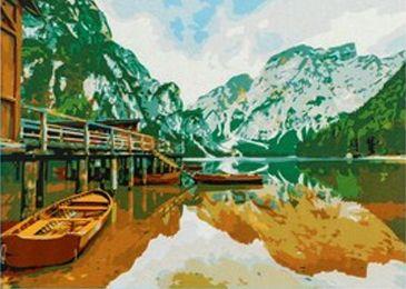 Фото - Набор для рисования по номерам Рыжий кот 5044901 Роспись по номерам на холсте 40 × 50 см, «Лодка на горном озере» коробка рыжий кот 33х20х13см 8 5л д хранения обуви пластик с крышкой