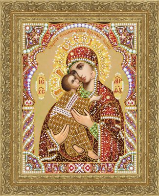Кружевная-002/4 Владимирская икона БМ (крассный, золотой)