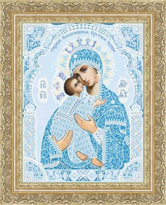 Кружевная-002/6 Владимирская икона БМ (светлый синий, белый)