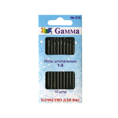 Игла Gamma Иглы для штопки №1-5 N-219 в конверте с прозрачным дисплеем 10 шт. .