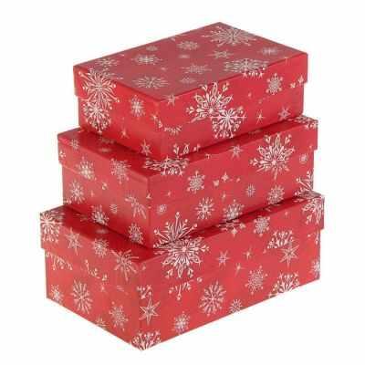 2834256 Набор коробок 3в1  Белые снежинки на красном  - Коробки