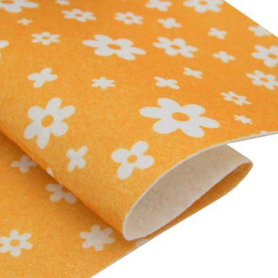 Ткань Астра Фетр листовой декоративный Цветочки Астра, 1,0мм, 180 гр (YF 640 желтый)