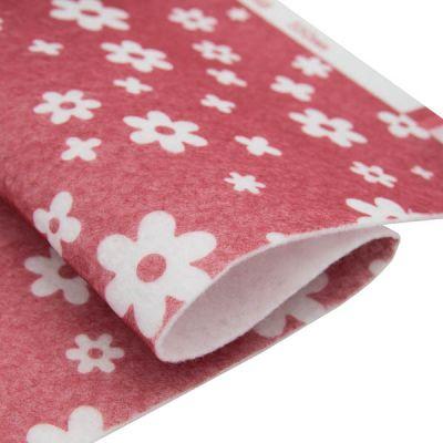 Ткань Астра Фетр листовой декоративный Цветочки Астра, 1,0мм, 180 гр (YF 602 красный)