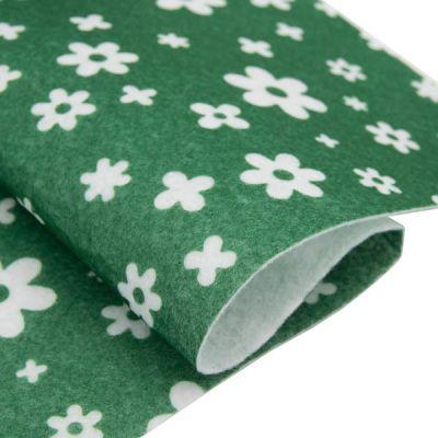 Ткань Астра Фетр листовой декоративный Цветочки Астра, 1,0мм, 180 гр (YF 664 зеленый)