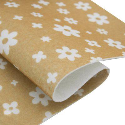 Ткань Астра Фетр листовой декоративный Цветочки Астра, 1,0мм, 180 гр (YF 641 бежевый)