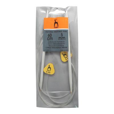 Инструмент для вязания PONY 65211 Спицы гибкие с фиксатором алюминий 5,0мм*60см
