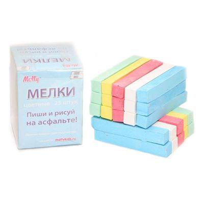 Набор для детского творчества Molly MSK 025CAp/8 Мел асфальтовый цветной 5 цв х 5 шт в пластиковой коробке 1/40