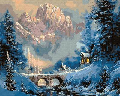 Набор для рисования по номерам Molly KD0668 Зима в горах деревянное панно с зеркалом glambers