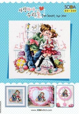 Основа для вышивания с нанесённым рисунком Soda SO-368 Two hearts, One love//Два серця, одна любов