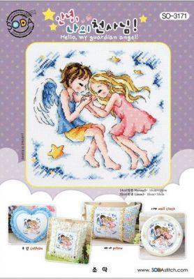 Основа для вышивания с нанесённым рисунком Soda SO-3171 Hello,my guardian angel!