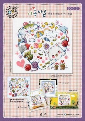 Основа для вышивания с нанесённым рисунком Soda SO-3151 The Kitten Village