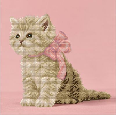 Алмазная мозаика ФРЕЯ ALVR-115 Кошечка с розовым бантиком