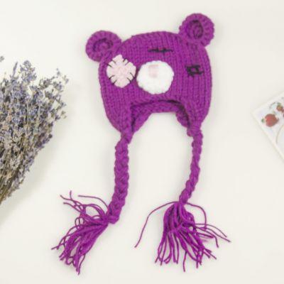 Заготовки и материалы для изготовления игрушки Pugovka Doll Вязанная шапочка для куклы. Мишка Тедди сиреневый