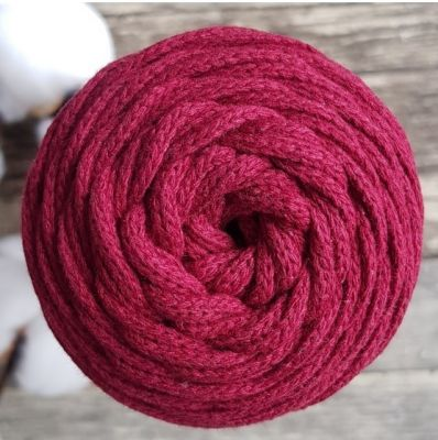 Пряжа Лента Шнур 3мм 100м Цвет. Бордовый