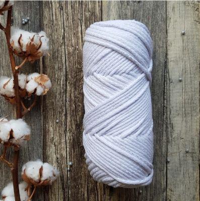 Пряжа Лента Шнур 5мм 100м Цвет. Белый с люрексом