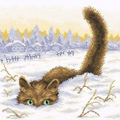 Фото - Набор для вышивания Brilliart МС-033 Кот в снегу кот в снегу