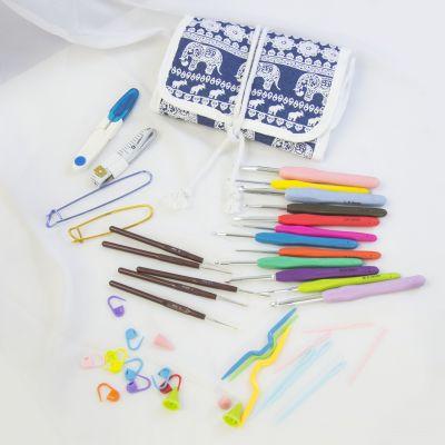 Инструмент для вязания - Набор инструментов для вязания крючком в чехле-скрутке