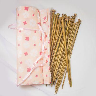 Инструмент для вязания - Набор длинных бамбуковых спиц в чехле