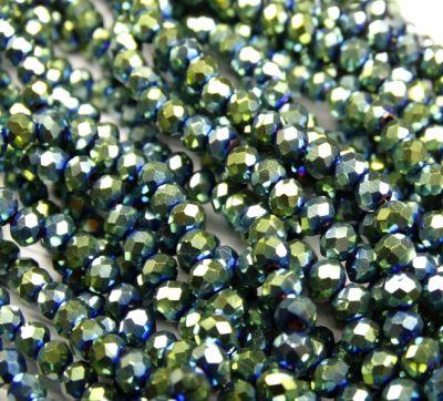 Каталог Хрустальные грани БЛ004НН34 Хрустальные бусины Зеленый металлик 3х4 мм, 70-75 шт.