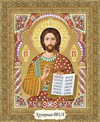 Кружевная-001/4 Иисус Христос (красный, золотой)