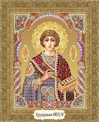 Кружевная-003/4 Св. Пантелеймон целитель (красный/золотой)