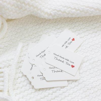 Аксессуар для рукоделия Holy Polly 10000051 Бирка готового изделия ручной работы Handmade with love. Thank you, прямоуг, картон