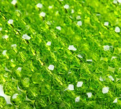 Каталог Хрустальные грани БП023НН46 Хрустальные бусины Салатовый прозрачный 4х6 мм, 45-50 шт.