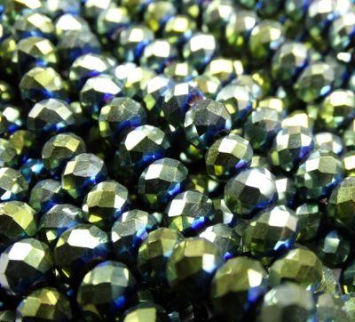 Каталог Хрустальные грани БЛ004НН46 Хрустальные бусины Зеленый металлик 4х6 мм, 45-50 шт.
