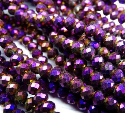 Каталог Хрустальные грани БЛ005НН46 Хрустальные бусины Фиолетовый металлик 4х6 мм, 45-50 шт.
