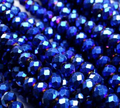 Каталог Хрустальные грани БЛ006НН46 Хрустальные бусины Синий металлик 4х6 мм, 45-50 шт.