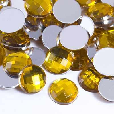 29058 Акрил Стразы-Кабошоны Круглые плоск 8х3мм, Золотистый