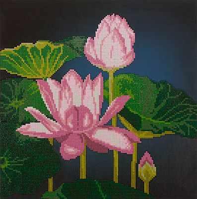 ALVR-16 Кристальная мозаика (алмазная вышивка) 014  Цветущие лотосы  - Мозаика «ФРЕЯ»