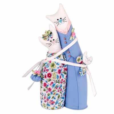 Набор для изготовления игрушки Miadolla C-0142 Коты-обнимашки ситцевые (Miadolla)