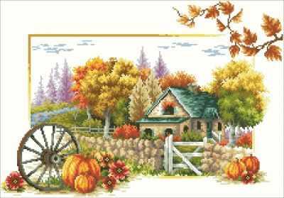 Осенний пейзаж (АЖ-42)  картина стразами - Мозаика из страз «Алмазная живопись»