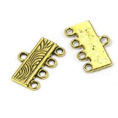 УТ100007604 Коннектор Прямоугольный 5 отв 11х16х2мм, Античное Золото