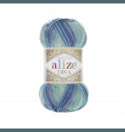 Пряжа Alize Diva Batik Цвет.1767 яр.бирюза.зел.синий
