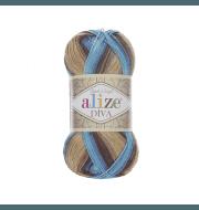 Пряжа Alize Diva Batik Цвет.3243 беж.коричн.голуб