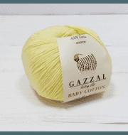 Пряжа GAZZAL Baby Cotton Gazzal Цвет.3413 Светло желтый