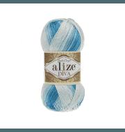Пряжа Alize Diva Batik Цвет.2130 Бело-голубой